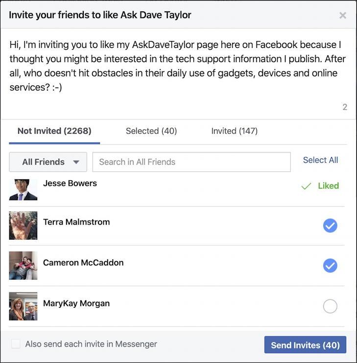facebook page - invite friends - choose friends