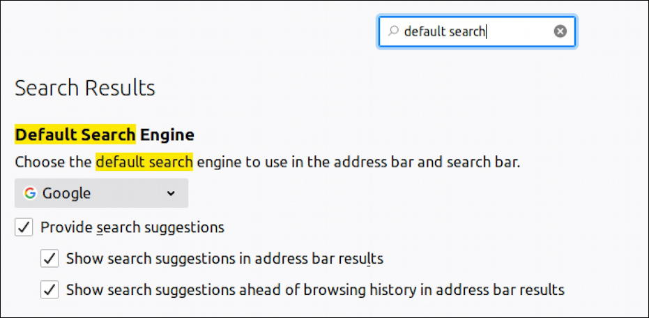 firefox settings - ubuntu linux - default search engine preferences choice change