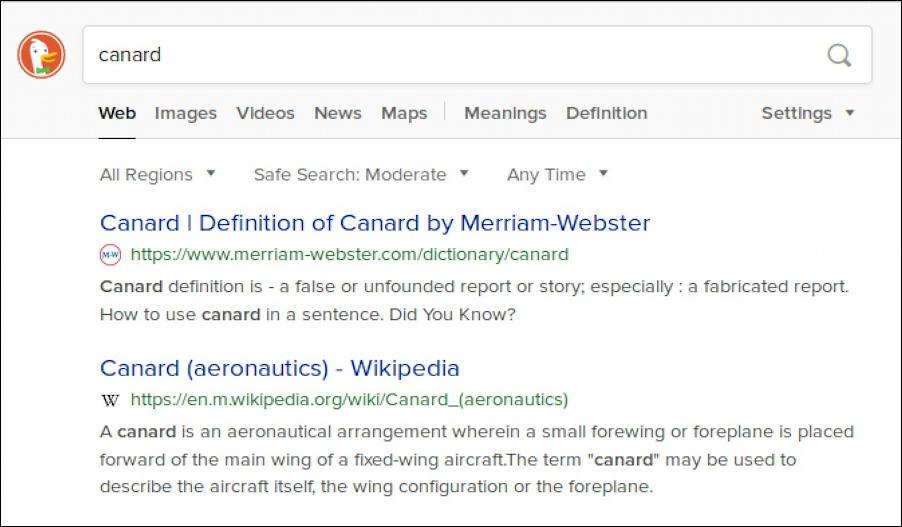 duckduckgo search results - canard