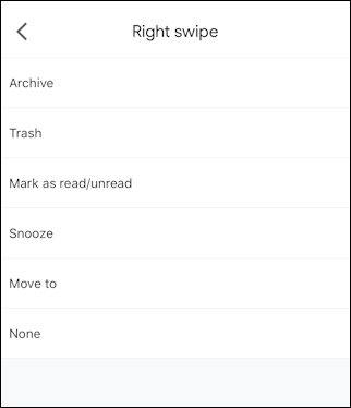 gmail iphone - set choose pick swipe action behavior
