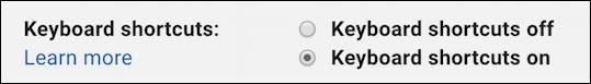 gmail - enable keyboard shortcuts setting