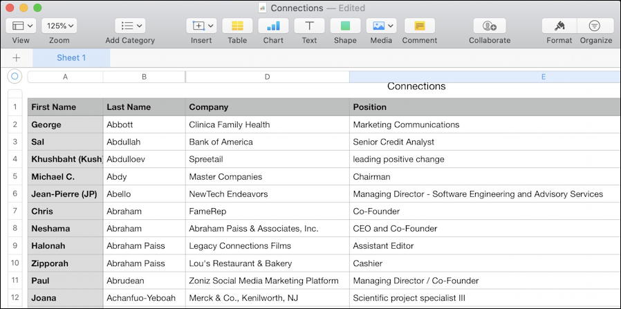 linkedin exported connections in spreadsheet csv