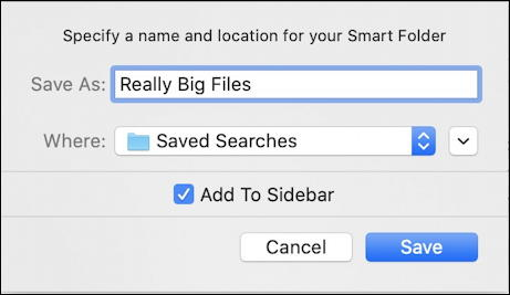 macos x mac smart folder - save smart folder