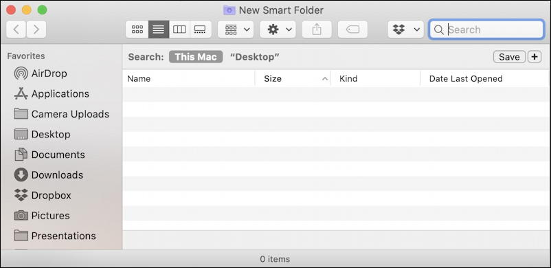 macos x mac smart folder -  empty folder