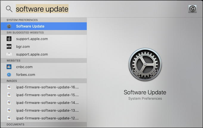 mac spotlight search: system update