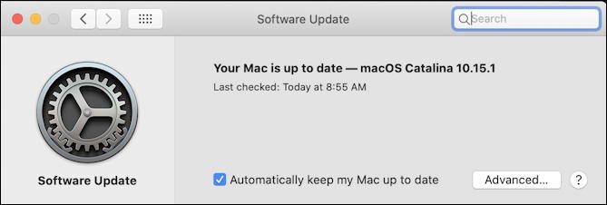macos x software update - up to date - catalina macos x