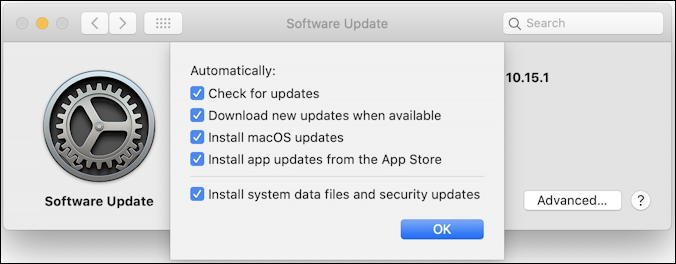 macos x - software update - advanced settings preferences automated