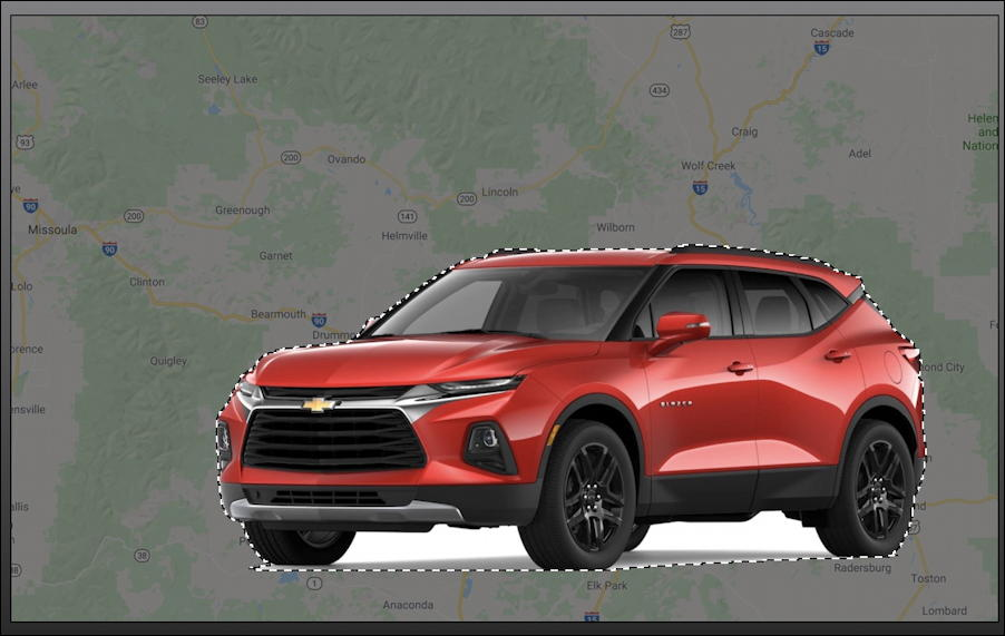 car pasted on top of map superimposed GraphicConverter mac