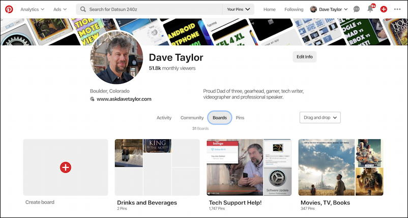 pinterest user profile page - dave taylor - ask dave taylor - d1taylor