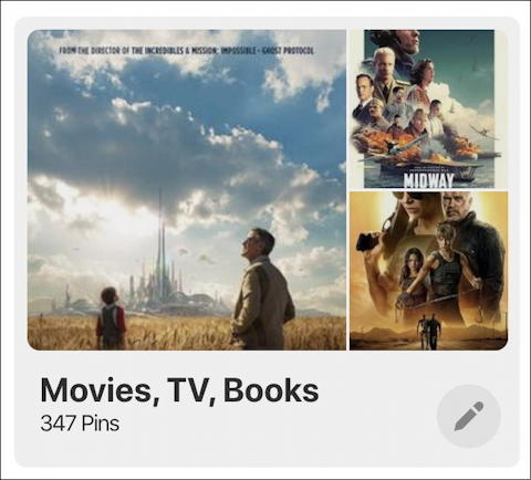 pinterest board movies tv books reviews - with edit button
