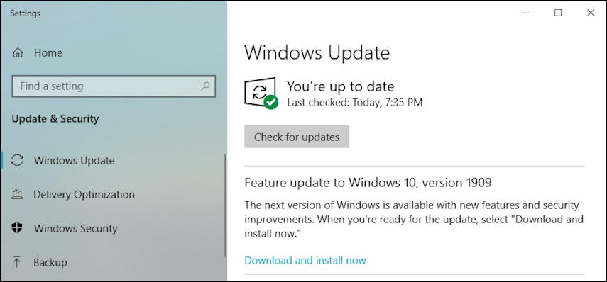 windows 10 1909 november 2019 update - check for updates