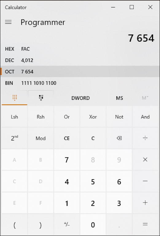 win10 calculator - programmer mode - base conversion