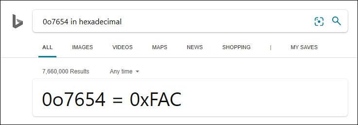 windows bing search conversion hex binary octal