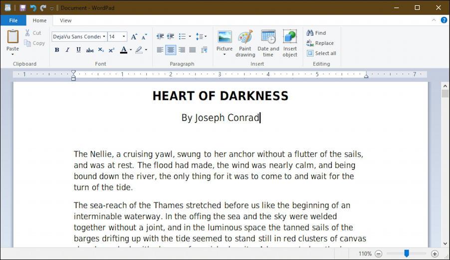 heart of darkness - wordpad - windows 10