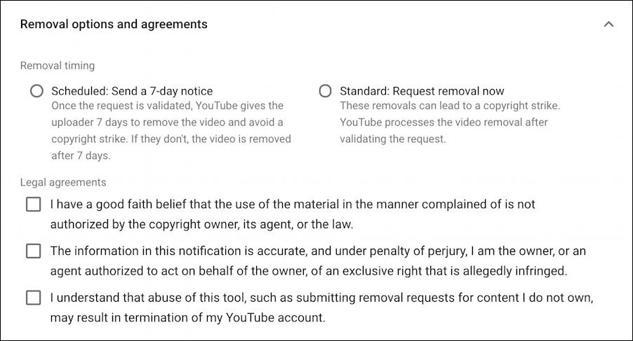 youtube copyright violations takedown request  confirm