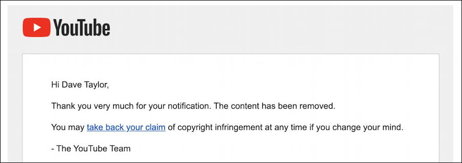 youtube copyright violation takedown video removed