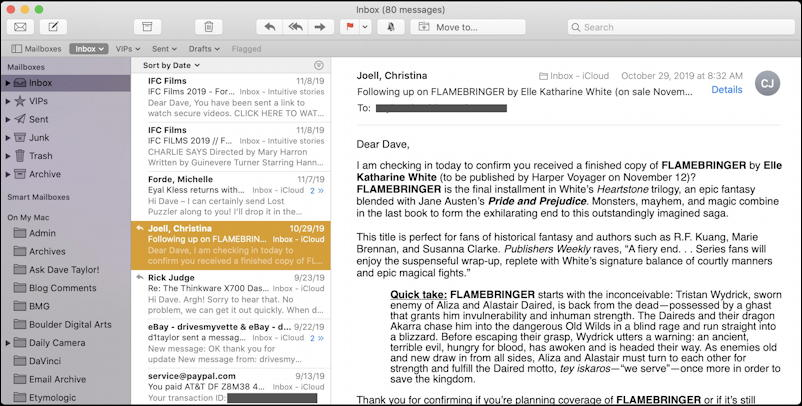 apple mail - message in tri-pane view - mac