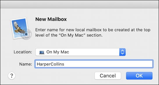 apple mail - create new mailbox
