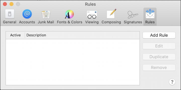 apple mail preferences - rules