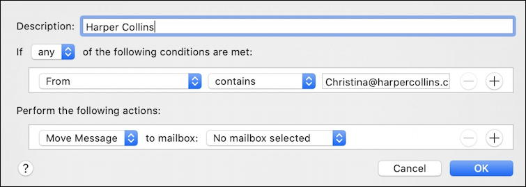 apple mail - default mail filtering rule