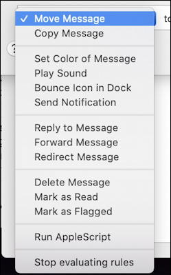 apple mail - email filter - action choices