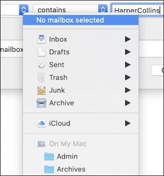 apple mail - send messages - list of email folders