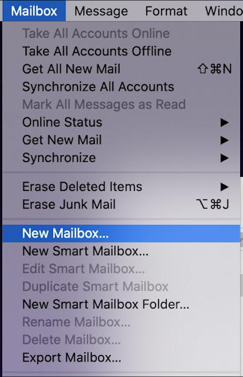 apple mail - file - new mailbox