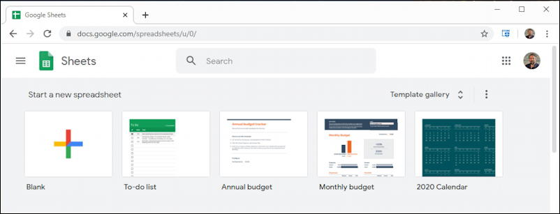 google docs - open new sheets spreadsheet