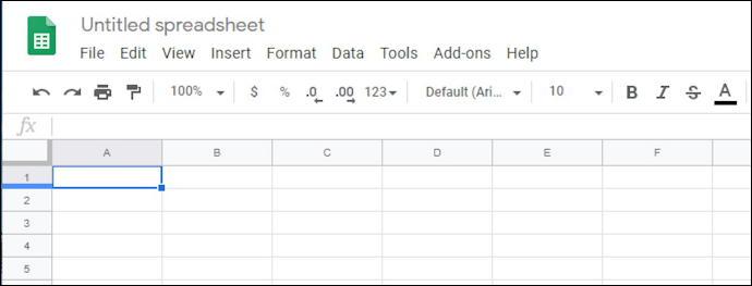 google docs - sheets - blank spreadsheet