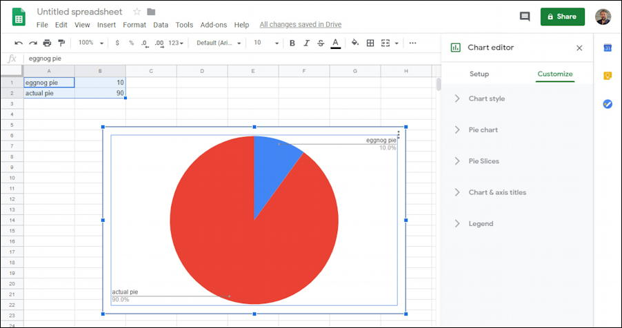 google sheets - basic pie chart