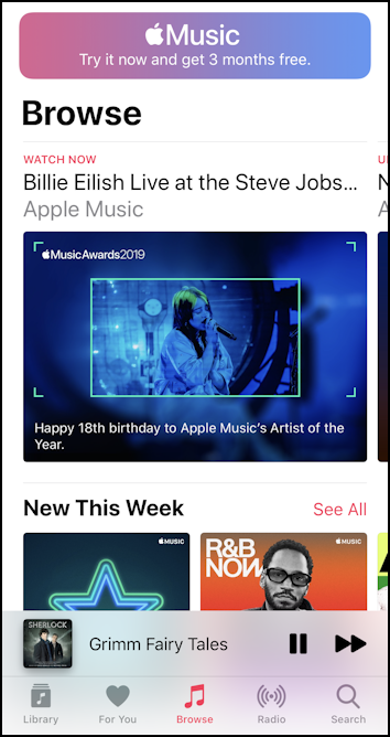 iphone ios13 music controls small window main 'music' app