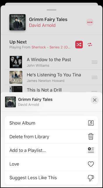 iphone ios13 music controls track info
