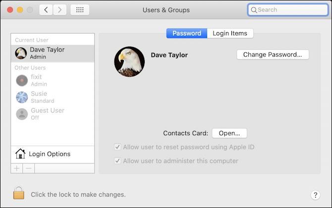 mac macos x - reset forgotten password account -