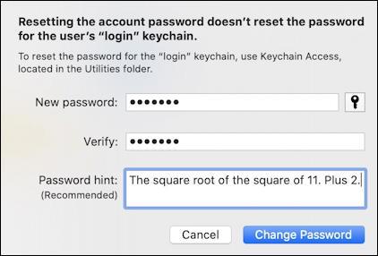 mac macos x - reset forgotten password account - filled in reset