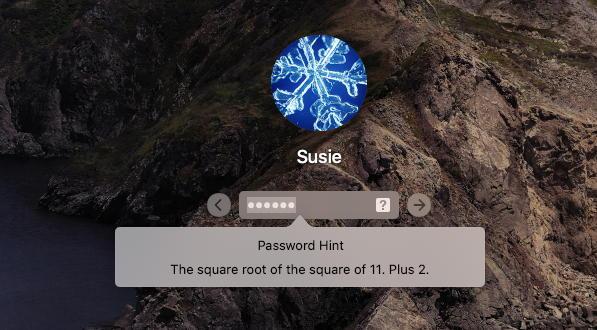 mac macos x - reset forgotten password account - password hint shown