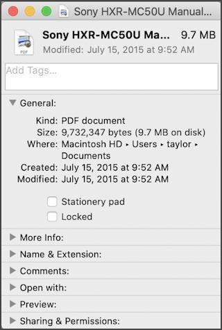 file get info window mac macos x
