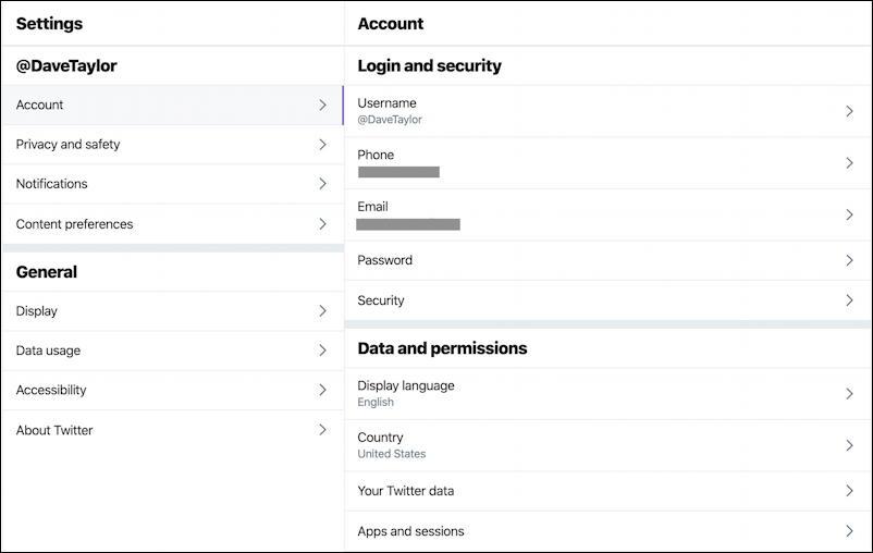 twitter main settings preferences