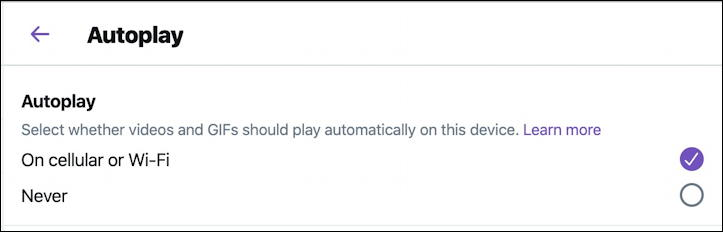 twitter animated gif video autoplay option setting preference