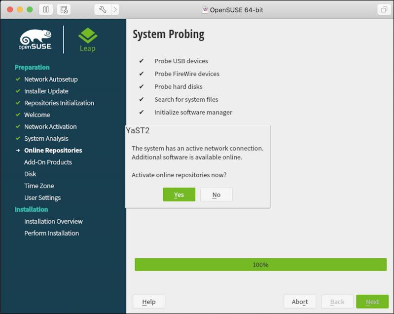 vmware fusion - opensuse linux install - installer