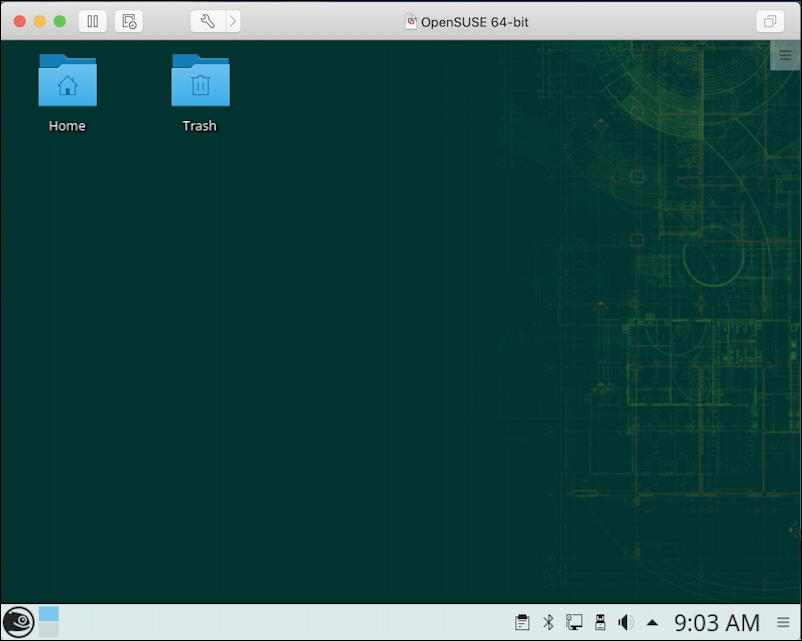 opensuse linux running on a mac macos x in vmware fusion