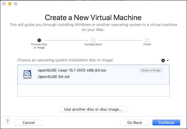 vmware fusion - opensuse install - create new virtual machine opensuse