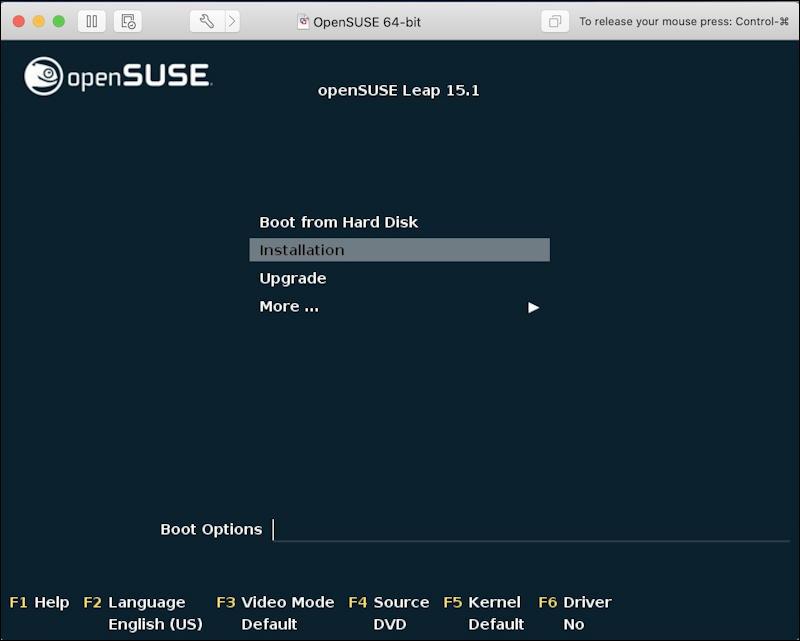 vmware fusion - opensuse install - install menu