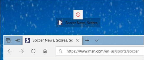 microsoft edge win10 - drag drop web url shortcut