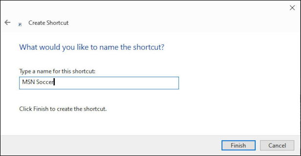 name win10 web shortcut
