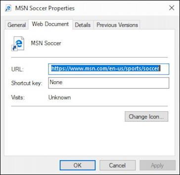win10 web shortcut properties new icon