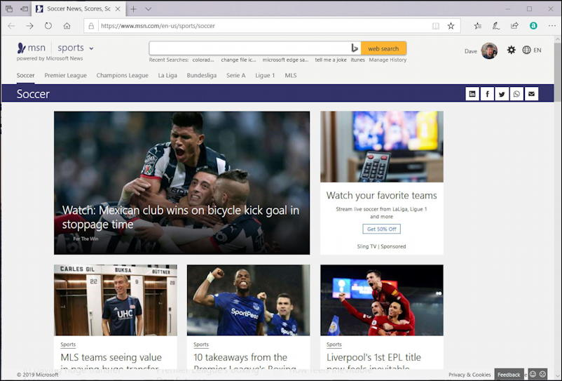 msn sports home page - soccer - in microsoft edge