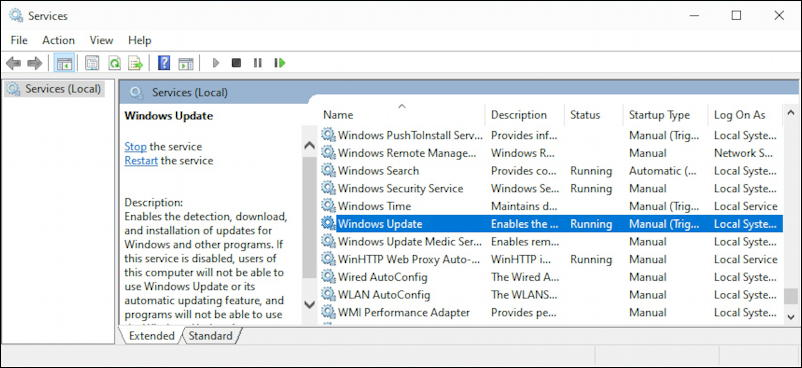 microsoft management console - windows update process