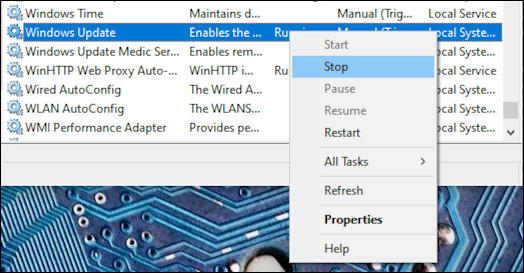 windows 10 -management console - stop kill process program app