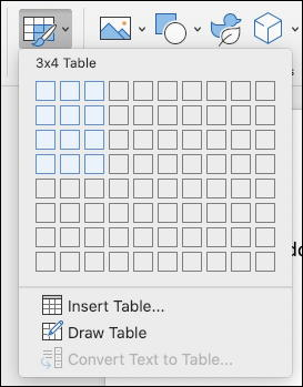 microsoft word for mac - add table - insert new table grid