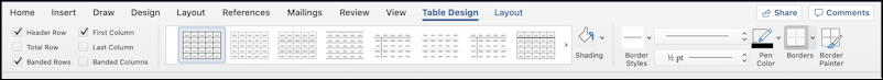 microsoft word for mac - add table - table format ribbon